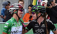 Katarzyna Niewiadoma (POL) (left) riding for WM3 Pro Cycling congratulated by team mate after winning  the OVO Energy Women's Tour, London Stage, at Regent Street, London, United Kingdom on 11 June 2017. Photo by Martin Cole.