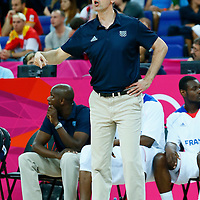 08 August 2012: France head coach Vincent Collet is seen during 66-59 Team Spain victory over Team France, during the men's basketball quarter-finals, at the 02 Arena, in London, Great Britain.