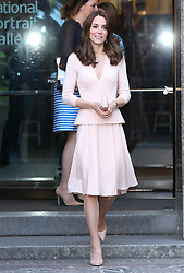 May 4, 2016 - London, England, United Kingdom - 5/4/16.The Duchess of Cambridge, Catherine Middleton seen here visiting the National Portrait Gallery in central London to view the Vogue 100: A Century of Style exhibition. Kate Looked stunning in a short light pink dress with a pink clutch bag and pink high heels.Kate looked very happy as she left waving at a large around that gathered to see the duchess..(London, England) (Credit Image: © Starmax/Newscom via ZUMA Press)
