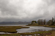 The old Castle Lachlan on the shores of Loch Fyne on the 3rd November 2018 in Strathlachlan in the United Kingdom. Castle Lachlan is a ruined 15th-century castle on the shore of Loch Fyne. Strathlachlan is on the Cowal peninsula in Argyll and Bute in the west of Scotland.