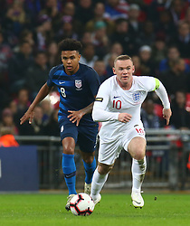 November 15, 2018 - London, United Kingdom - L-R Weston McKennie of USA  and England's Wayne Rooney.during the friendly soccer match between England and USA at the Wembley Stadium in London, England, on 15 November 2018. (Credit Image: © Action Foto Sport/NurPhoto via ZUMA Press)