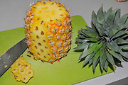 Peeling, cutting and slicing a perfect ripe pineapple