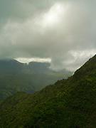Aerial view of Kauai, Hawaii on a cloudy day.