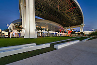 MIAMI, FL - APRIL 9: View of the new Marlins Park, construction of the stadium  was completed in March 2012, just in time for Major League Baseball Season, it features a retractable roof and seats 37,442. Taken April 9 2012.