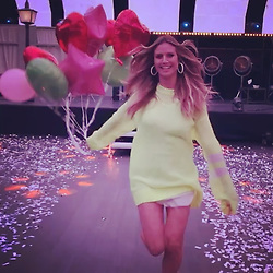 """Heidi Klum releases a photo on Instagram with the following caption: """"Yipppppiiiii \ud83d\ude0d\u2764\ufe0f\u2763\ufe0f\ud83e\udd2a\ud83d\udc9b\ud83d\ude0a\ud83e\udd23\ud83e\udd13\ud83d\ude1c\ud83d\ude01\ud83d\ude1d\ud83d\ude1b\ud83d\ude0e\ud83d\ude1c\ud83d\ude0a\ud83d\ude06\ud83d\ude18\u2764\ufe0f\u2764\ufe0f\ud83d\ude06\ud83d\ude01\ud83d\ude18\ud83d\ude02"""". Photo Credit: Instagram *** No USA Distribution *** For Editorial Use Only *** Not to be Published in Books or Photo Books ***  Please note: Fees charged by the agency are for the agency's services only, and do not, nor are they intended to, convey to the user any ownership of Copyright or License in the material. The agency does not claim any ownership including but not limited to Copyright or License in the attached material. By publishing this material you expressly agree to indemnify and to hold the agency and its directors, shareholders and employees harmless from any loss, claims, damages, demands, expenses (including legal fees), or any causes of action or allegation against the agency arising out of or connected in any way with publication of the material."""