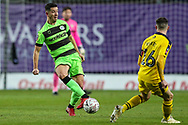 Forest Green Rovers Lloyd James(4) passes the ball forward during the The FA Cup 1st round match between Oxford United and Forest Green Rovers at the Kassam Stadium, Oxford, England on 10 November 2018.