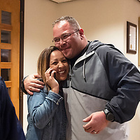 Janelle Griego hugs her husband Eloy Hernandez after final Municipal Officer Election results are posted at City Hall Tuesday night and they learn she will be the next municipal judge earning 44.68% of the votes.