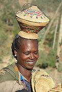 Africa, Ethiopia, Gondar, Wolleka village, Portrait of a Falasha Mura Woman member of the Beta Israel (the Jewish community) community