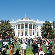 Children engage in activities on the South Lawn of the White House at the annual White House Easter Egg Roll in Washington DC.