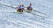 Reading. United Kingdom. GBR M2- top, Alex GREGORY and Mo SBIHI lead George NASH,  and partner Andy TRIGGS HODGE as the crews rerun to the boathouse after the men's pair final. 2014 GBRowing Senior trials,  Redgrave and Pinsent Rowing Lake. Caversham.<br /> <br /> 18:39:24  Saturday  19/04/2014<br /> <br />  [Mandatory Credit: Peter Spurrier/Intersport<br /> Images]