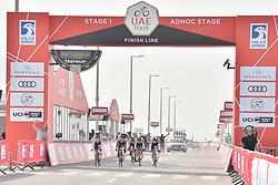 February 24, 2019 - Abu Dhabi, Emirati Arabi Uniti, Emirati Arabi Uniti - Foto LaPresse - Massimo Paolone.24 Febbraio 2019 Abu Dhabi (Emirati Arabi Uniti).Sport Ciclismo.UAE Tour 2019 - Tappa 1 - Da Al Hudayriat Island a Al.Hudayriat Island - Crono squadre 16 km.Nella foto: l'arrivo..Photo LaPresse - Massimo Paolone.February 24, 2019 Abu Dhabi (United Arab Emirates) .Sport Cycling.UAE Tour 2019 - Stage 1 - From Al Hudayriat Island to.Al Hudayriat Island - TTT 9,9 miles.In the pic: the arrival (Credit Image: © Massimo Paolone/Lapresse via ZUMA Press)