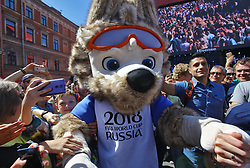 June 14, 2018 - Saint Petersburg, Russia - June 14, 2018. - Russia, Saint Petersburg. - Football fans and Zabivaka the Wolf, the mascot of the 2018 FIFA World Cup Russia, at the 2018 FIFA World Cup Fan Fest. (Credit Image: © Russian Look via ZUMA Wire)