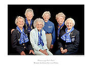 WASP's photographed in the Weeks Hangar during AirVenture 2009, in Oshkosh, Wisconsin.  Left to Right:  Dotty Swain Lewis, Dawn Seymour, Vi Cowden, Marty Wyall, Norma Penny Halberg, and Jan Goodrum