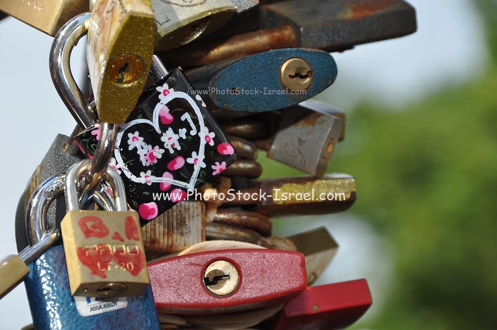 Love Padlocks at the Love Bridge. Prague, Czech Republic.