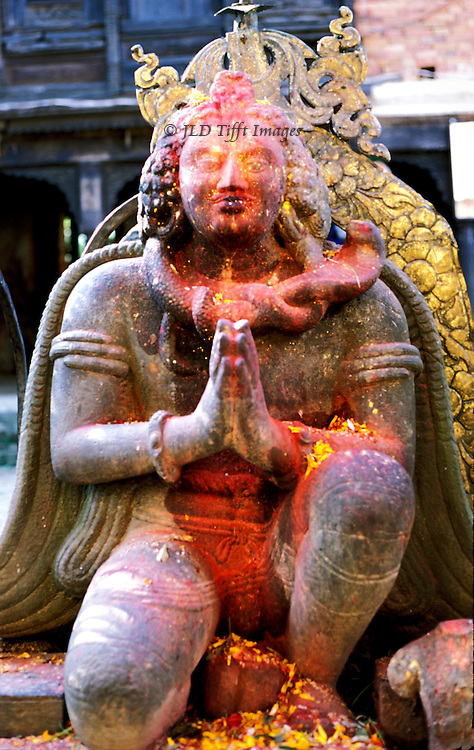 Changu Narayan temple precinct; a World Heritage site, Kathmandu valley.  Dedicated to Vishnu Narayan, Creator of Life.  Statue of Garuda, Vishnu's winged vehicle, dated 5th-6th century, the oldest known sculpture in Nepal..Changu Narayan temple precinct; a World Heritage site, Kathmandu valley.  Dedicated to Vishnu Narayan, Creator of Life.  Statue of Garuda, Vishnu's winged vehicle, dated 5th-6th century, the oldest known sculpture in Nepal.