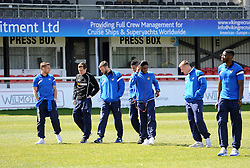 Bristol Rovers check out the pitch at Dover - Photo mandatory by-line: Neil Brookman/JMP - Mobile: 07966 386802 - 18/04/2015 - SPORT - Football - Dover - Crabble Athletic Ground - Dover Athletic v Bristol Rovers - Vanarama Football Conference