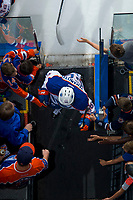 PENTICTON, CANADA - SEPTEMBER 8: Kailer Yamamoto #56 of Edmonton Oilers exits the ice against the Calgary Flames on September 8, 2017 at the South Okanagan Event Centre in Penticton, British Columbia, Canada.  (Photo by Marissa Baecker/Shoot the Breeze)  *** Local Caption ***