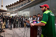 Pakistan National Cricket team captain Shahid Afridi gives a press conferance inside Gaddafi Stadium, Lahore to local media  during a week long training camp period prior to the 2011 ICC World Cricket cup in Sri Lanka, Bangladech and India.