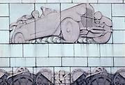CHICAGO, ARCHITECTURE art deco relief of 1930's automobile