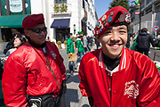"Guardian Angles at the 27th Saint .Patrick's Day Parade in Omotesando, Tokyo, Japan. Sunday March 17th 2019. Started in 1992 by the Irish Network, Japan, and supported by the Embassy of Ireland,; the parade, along with the ""I Love Ireland Festival"" held nearby is Asia's  largest Irish event."