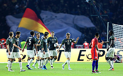 Germany's Toni Kroos celebrates with his team mates after scoring the opening goal - Mandatory by-line: Matt McNulty/JMP - 26/03/2016 - FOOTBALL - Olympiastadion - Berlin, Germany - Germany v England - International Friendly