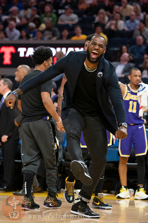 February 27, 2020; San Francisco, California, USA; Los Angeles Lakers forward LeBron James (23) celebrates during the third quarter against the Golden State Warriors at Chase Center.
