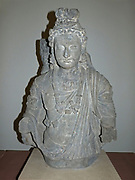 The Budhisattva Maitreya (100-400) Kushan period. A bodhisattva is a future Buddha who is on the path to enlightenment but chooses to remain on earth to help others find salvation.  Bodhisattvas are usually depicted wearing princely dress and jewellery.