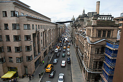 """Day two of filming. The set of the movie """"World War Z"""" being shot in the city centre of Glasgow. The film, which is set in Philadelphia, is being shot in various parts of Glasgow, transforming it to shoot the post apocalyptic zombie film.."""