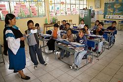 South America, Ecuador, Morocho, village near Cotacachi, children in classroom in elementary school