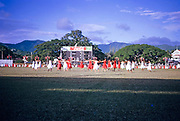Display of physical education gymnastics by school children, Port of Spain, Trinidad c 1962 independence pageant
