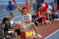 Slovenian long jump athlete Nina Kolaric in the Qualification when she jumped 6,67m and qualified for finals at the 1st day of  European Athletics Indoor Championships Torino 2009 (6th - 8th March), at Oval Lingotto Stadium,  Torino, Italy, on March 6, 2009. (Photo by Vid Ponikvar / Sportida)