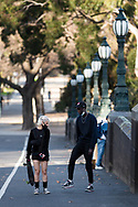 Locals are seen walking along the Yarra during COVID-19 in Melbourne, Australia. Hotel quarantine linked to 99% of Victoria's COVID-19 cases, inquiry told. This comes amid a further 222 new cases being discovered along with 17 deaths. Melbourne continues to reel under Stage 4 restrictions with speculation that it will be extended. (Photo by Dave Hewison/Speed Media)