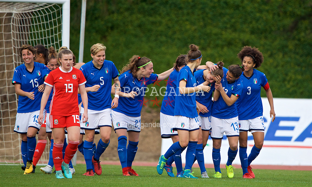 LARNACA, CYPRUS - Friday, March 2, 2018: Italy's Greta Adami celebrates scoring the third goal with team-mates during the Cyprus Women's Cup Group A match between Wales and Italy on day four of the Cyprus Cup tournament at the GSZ Stadium Stadium. (Pic by David Rawcliffe/Propaganda)