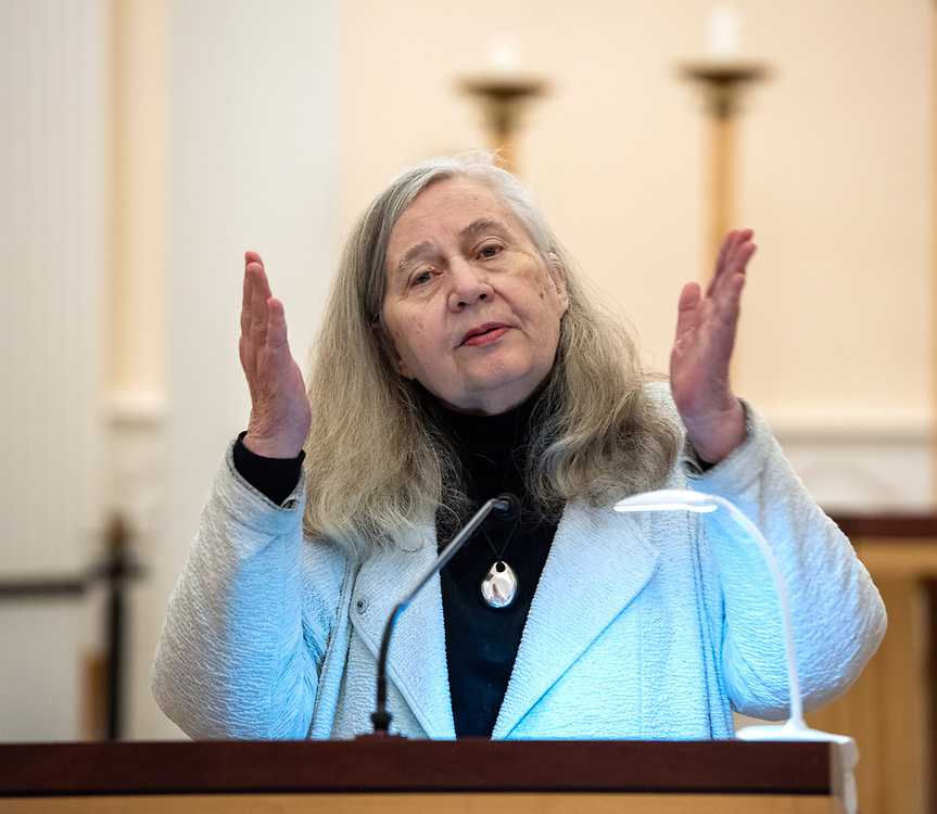 """© Photo by Mara Lavitt<br /> January 25, 2020<br /> Marquand Chapel, Yale Divinity School, New Haven, CT<br /> <br /> Pulitzer-Prize-winning author Marilynne Robinson gave the Andover Newton Seminary at Yale's Simpson-Hewett Lecture. The subject was """"The Prehistory of Congregationalism."""""""