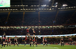 Scarlets' Tadhg Beirne claims the lineout<br /> <br /> Photographer Simon King/Replay Images<br /> <br /> Guinness PRO14 Round 21 - Dragons v Scarlets - Saturday 28th April 2018 - Principality Stadium - Cardiff<br /> <br /> World Copyright © Replay Images . All rights reserved. info@replayimages.co.uk - http://replayimages.co.uk