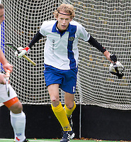GROENEKAN - Lijnstopper Pieter Woudenberg van hockeyclub Voordaan tijdens de hoofdklasse hockeywedstrijd tussen de mannen van Voordaan en Bloemendaal (3-7). FOTO KOEN SUYK