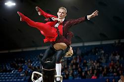 Jacobs Torben, Engelberty Pia, (GER), Danny Boy <br /> World Cup Vaulting<br /> Vlaanderen Kerstjumping - Memorial Eric Wauters - <br /> Mechelen 2015<br /> © Hippo Foto - Dirk Caremans<br /> 26/12/15
