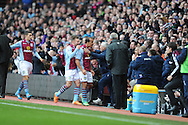 Aston Villa's Gabriel Agbonlahor (c) celebrates after scoring his sides 1st goal during the Barclays Premier league, Aston Villa v Swansea city at Villa Park in Birmingham, England on Saturday 28th Dec 2013. <br /> pic by Jeff Thomas, Andrew Orchard sports photography.
