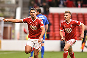 Nottingham Forest defender Eric Lichaj (2) celebrates after scoring a goal to make it 2-0 with Nottingham Forest midfielder Ben Osborn (11) during the EFL Sky Bet Championship match between Nottingham Forest and Burton Albion at the City Ground, Nottingham, England on 21 October 2017. Photo by Jon Hobley.