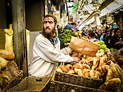 Israel, Jerusalem, Machane Yehuda market selling bread, rolls, and Challah