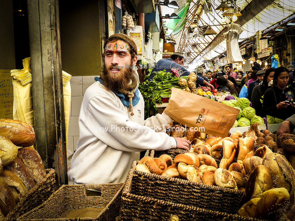 Israel, Jerusalem, Machane Yehuda market selling bread, rolls, and Challah