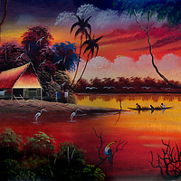 An idyllic painting shows the Amazon River Jungle.