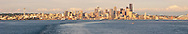 Seattle cityscpe panorama from Elliott Bay in Puget Sound