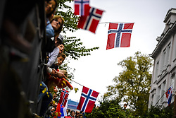 September 24, 2017 - Bergen, NORWAY - 170924 Norwegian flags during the Men Elite Road Race on September 24, 2017 in Bergen..Photo: Vegard Wivestad Grøtt / BILDBYRÃ…N / kod VG / 170027 (Credit Image: © Vegard Wivestad GrØTt/Bildbyran via ZUMA Wire)