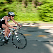 Female competitor in a local triathlon, Wakefield, Massachusetts