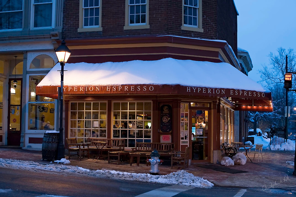An early snowy morning outside of Hyperion Espresso in the historic district of Fredericksburg, VA.