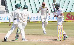 Durban. 020318. Nathan Lyon of Australia celebrates the wicket of Hashim Amla of the Proteas during day 2 of the 1st Sunfoil Test match between South Africa and Australia at Sahara Stadium Kingsmead on March 02, 2018 in Durban, South Africa. Picture Leon Lestrade/African News Agency/ANA