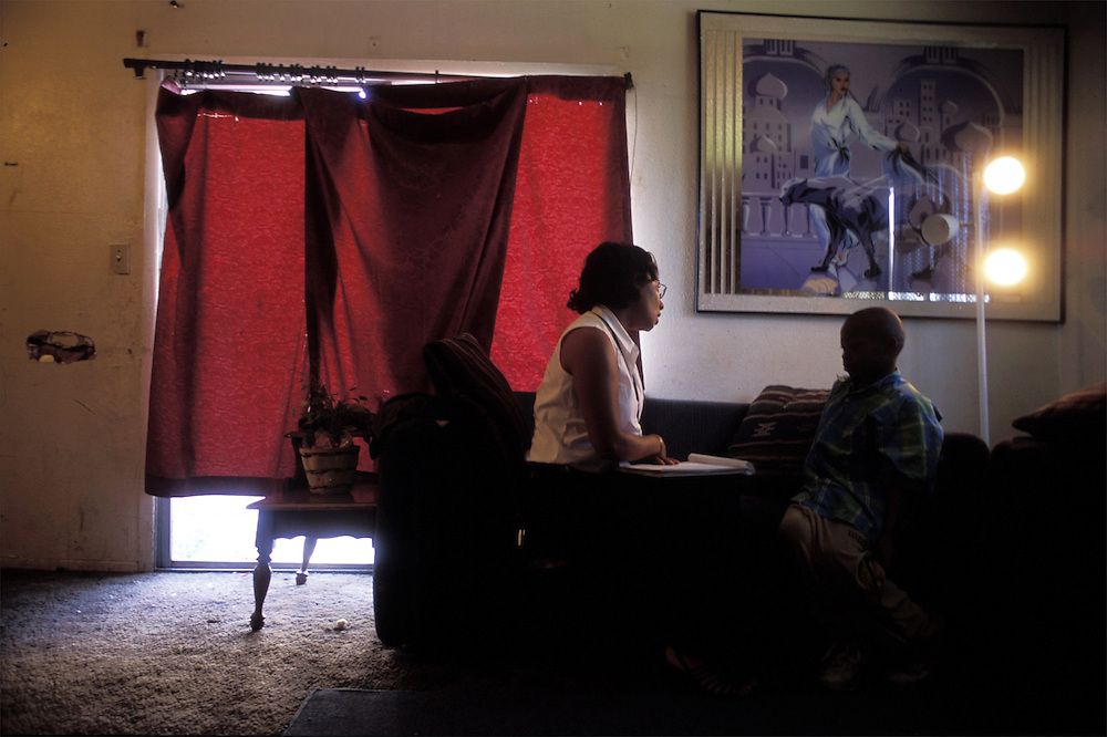 In the darkened apartment of mother of four who regularly uses methamphetamine, CPS caseworker Germaine Abraham-LeVeen interviews a little boy about whether he's safe and getting enough to eat..