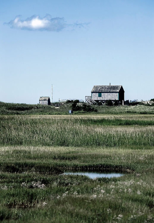 Beach front cottage and salt marsh, Chatham, Cape Cod