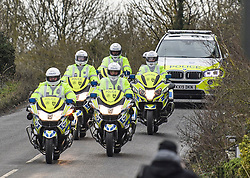 © Licensed to London News Pictures. 31/01/2020. Brize Norton, UK. A police escort arriving at RAF Brize Norton in Oxfordshire before a plane carrying Britons from Wuhan in China lands. A flight, carrying 150 Britons and 50 people from elsewhere in the EU from the centre of the coronavirus outbreak, was initially delayed because of a lack of clearance by Chinese Authorities. Photo credit: Ben Cawthra/LNP
